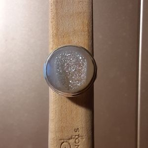 925 silver white geode sz 6 ring